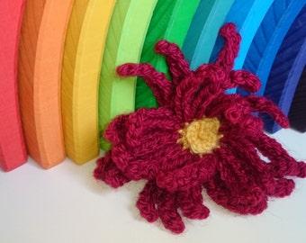 Gerbera Flower Brooch Accessory, Handmade Crochet