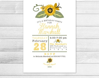 Sunflower Birthday Party Invitation, Printable Digital Invite File, Subway Style