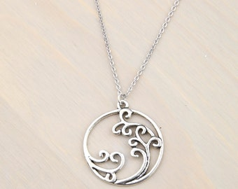 Beach Wave Necklace, Beach Jewelry, Beach Wedding, Nautical Jewelry