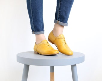 Women's Shoes yellow leather flats handmade On sale 30% off , ADI KILAV