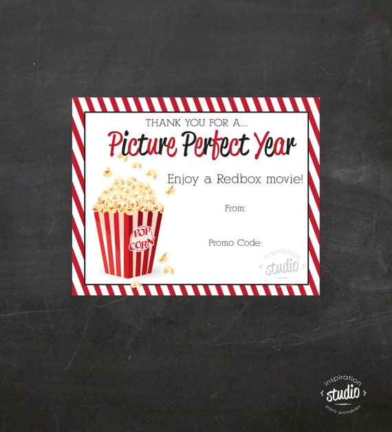 Redbox Movie Printable - use it to gift promo codes - Teacher ...