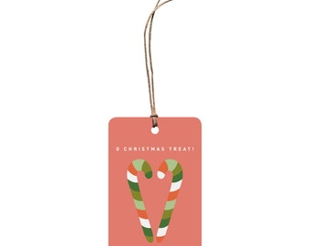 Christmas Gift Tag – O Christmas Treat. Candy Canes. Funny Christmas Tag. Food and Drink. Red and Green. Quirky Festive Tag. Christmas Pun.
