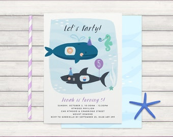 Under the Sea Party Invite, Birthday Invitation with Whale, Shark & seahorse, Purple, printable with pattern backer