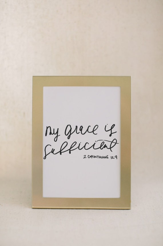 Calligraphy print my grace is sufficient by parrischicboutique