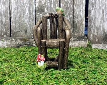 Woodland Fairy Garden Chair with Miniature Mushrooms & Tiny Bird - Fairy Garden Furniture, Miniature Garden Accessories, Dollhouse Accessory