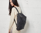 Sale 15% OffCloudy Black Leather Backpack, Laptop Bag, Messenger Bag, School Bag, Black Leather Bag, Unisex