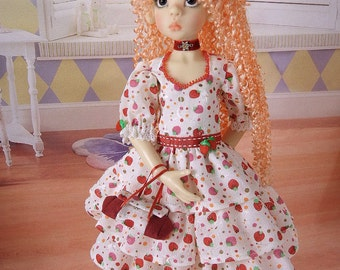 Sweet ruffled strawberry outfit for MSD Kaye Wiggs girls such as  Layla, Nyssa or Miki, Abby or Missy