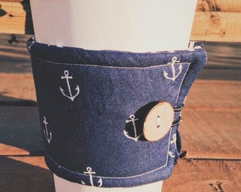 Anchor Insulated Coffee Cozy, Coffee Cuff, Coffee Sleeve