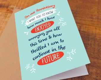 Anniversary Card / for husband / for wife / Funny Anniversary Card