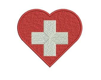 Machine Embroidery Design Instant Download - Swiss Flag of Switzerland