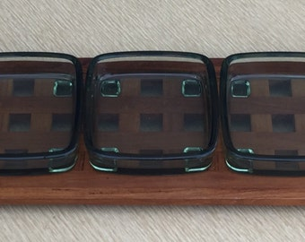 Mid Century Dansk Teak Lattice Tray - Rare Size - Three Glass Dish Inserts