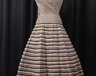 Vintage 1950's Ceil Chapman Gingham Lace Cotton Full Sdkirted Dress Size M