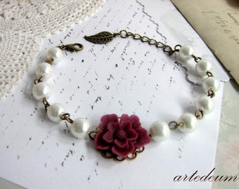 White Pearls bracelet burgundy flower Bordeaux Romantic Bridesmaids Gift Wedding Jewelry Bridal Cuff Gift for her
