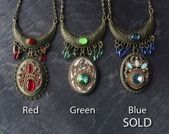 Ethnic jewelry with Swarovski, tibetan red necklace, Indian green necklace, boho necklace