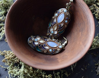 boho blue filigree polymera clay earrings, ethnic blue glass stone jewelry, oval indian earrings, indian jewelry, hippie long earrings