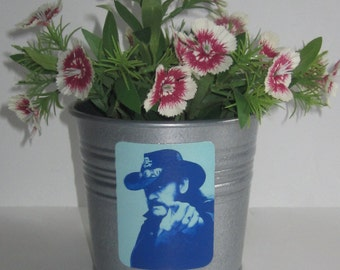 LEMMY Kilmister, galvanized metal silver planter pot, Motorhead, Ace of Spades, heavy metal music, mutton chops, badass