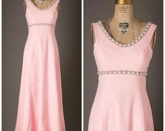 1960s Pink Formal Maxi Dress