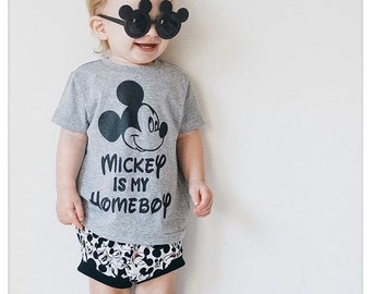Mickey Is My Homeboy Kids Boys Baby Mens Kids Tees T Shirts Bodysuit  Tank Top Custom Made Personalized