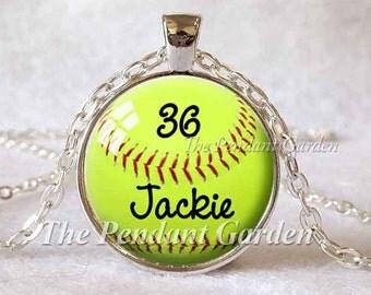 CUSTOM SOFTBALL PENDANT Softball Jewelry Baseball Necklace Sports Pendant Green and Red Custom Pendant Mom Gift for Mom