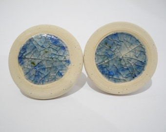 Glass Drawer Knobs, Ceramic Cabinet Pulls, Artisan Door Knobs with Recycled Blue Glass