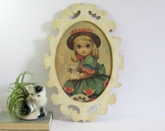 Vintage Big Eye Art Painting Large Oval Frame - Sad Eye Girl - Retro Wall Decor - Wales Made in Japan Lithograph - Blonde Girl Easter Bonnet