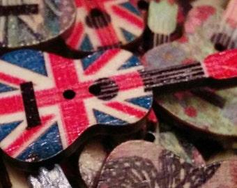 Guitar Buttons - Set of 10 - Wooden Buttons