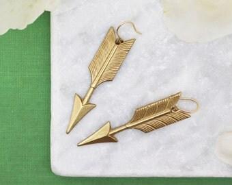 Brass Arrow Earrings, Gold Arrow Earrings, Gold Filled Earrings, Long Earrings, Arrow Jewellery, Gift For Her, Woodland Earrings