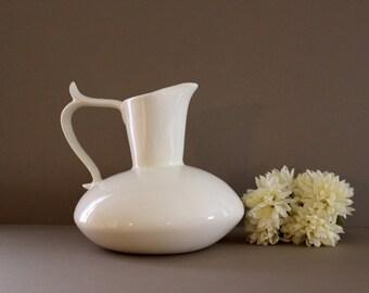Vintage Stoneware Pitcher, Mid Century Squat Large Pitcher, Vintage Ceramic Pottery Pitcher
