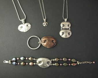 Double Nose Print Necklace or Key chain - 2 small or medium noses