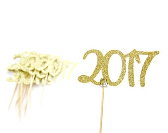 12 Gold Glitter 2017 Cupcake Toppers - New Year Cupcakes, Happy New Year Cupcake Toppers, New Year Party Picks, 2016 Food Picks
