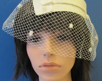 Vintage Cream Satin Wedding Hat
