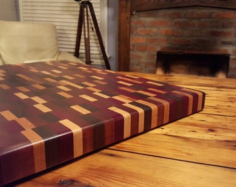 Exotic hard wood, end grain cutting board and butcher block