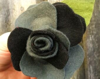 Black and Grey Big Rose Brooch, Charcoal Grey Felt Flower Corsage