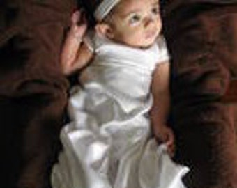 Blessing dress, Satin baby girl dress, infant formal gown, satin and rhinestone dress, baptism dress, christening dress, sealing dress