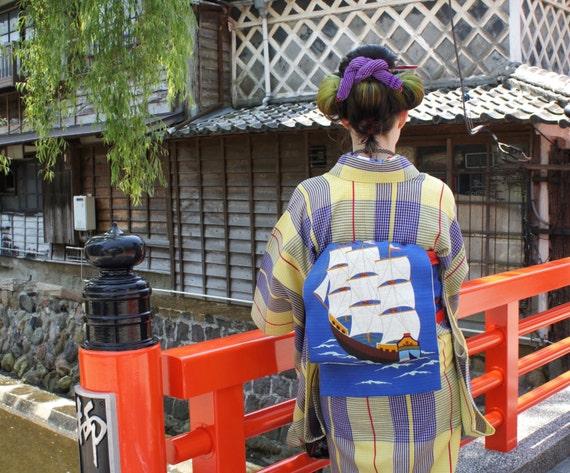 Ship Nagoya obi, blue Japanese summer obi sailor ship, embroidered boat silk obi belt, antique obi minimalist modern kimono blue ro silk obi