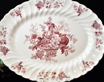 Platter, Red and White, Myott China, Bountiful, English, Vintage platter, porcelain Made in England, #1951