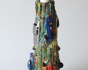 Candle Holder, Cars sculpture, found objects, Tower