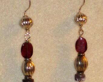Garnet Amethyst Sterling Silver Dangling Artisan Earrings