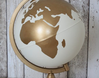 "Hand Painted White and Gold Globe | 10"" Diameter 