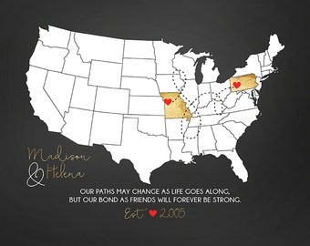 Personalized Map for BFF, Friends Forever Gifts, Custom US Map, Gold, Black, White, Red Hearts, Girlfriend, Long Distance | WF170