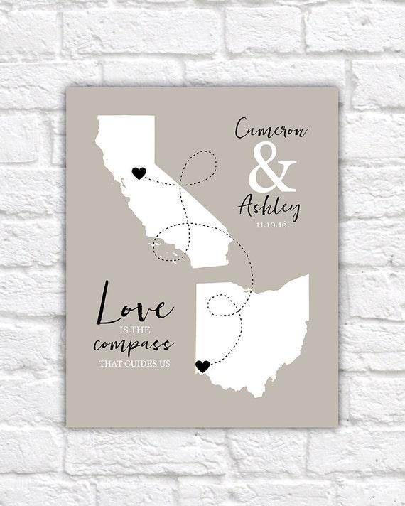 Custom Long Distance Relationship Gift Maps Art Print