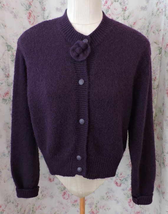 80s Benetton Cardigan Sweater  Purple Mohair Wool Jumper  United