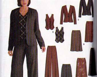 Simplicity 5792, Misses Sizes 4, 6, 8, and 10 Work Wardrobe Pattern, Wide Leg Pants, Lined Vest, Jacket ,  Flared Skirt in 2 Lengths,