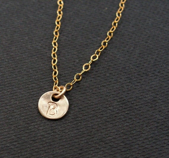 dainty initial necklace personalized gold initial disc