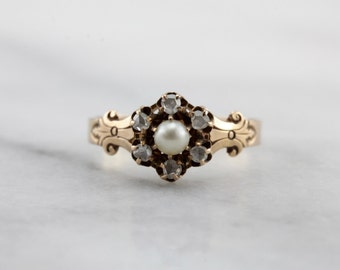 Victorian Pearl and Antique Diamond Dinner Ring, Incredible Victorian Era Ladies Ring with Rose Cut Diamonds  Y1QE76-R
