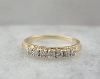 Textured Seven Diamond Wedding Band  W4KDZF-N