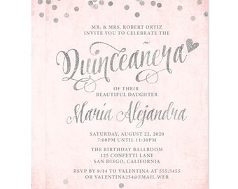 Quinceañera Invitations - Blush Pink & Silver4 Confetti - DIY Printable File For Printing On Your Own - 15th Birthday Invites
