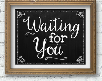 """Printable Chalkboard Waiting for You Adoption Signs, 2 sizes: 10""""x8"""" and 14""""x11"""", JPG Instant Download"""