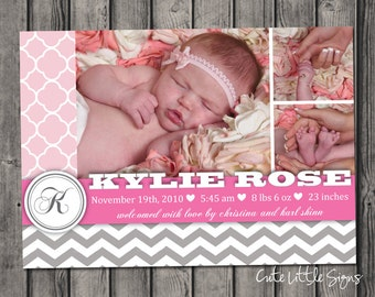 Birth Announcement Baby Girl Collage Chevron Digital Download