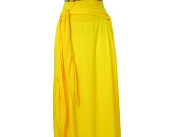 Women's Plus Size floor length Skirt Yellow jersey knit skirt. Small to 6X.